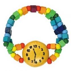 Drevené hračky - Detský náramok hodinky dúhové