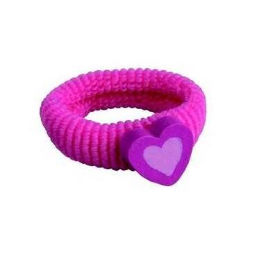 Dřevěné hračky - Gumička do vlasů srdce - růžové