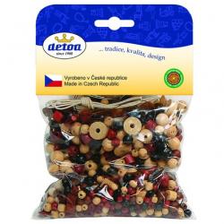 Drevené hračky-drevené korálky - Mix perlí hnědopřírodní 70g