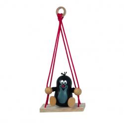 Drewniane dekoracje - Krecik na huśtawce