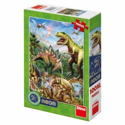Puzzle 100XL dílků: Svět dinosaurů neon