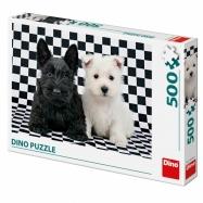 Puzzle 500 dílků: Černobílí psi