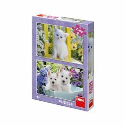 Puzzle 2x48 dílků Koťátko a Westíci