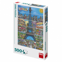 Puzzle Wieża Eiffla kreskówka 500