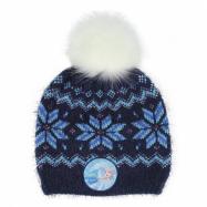 Čiapka s chlpatým brmbolcom modrá Ľadové kráľovstvo 2