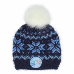 Čepice s chlupatou bambulí modrá Ledové království 2