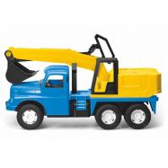 Samochód Tatra 148 plastik 72 cm pogłębiarka do piasku w pudełku - niebiesko-żółty
