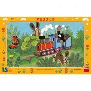 Puzzle 15 sztuk Ramkowe Krecik i ciuchcia DINO