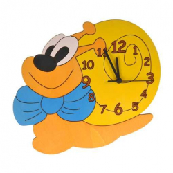 Detské drevené hodiny - Slimák