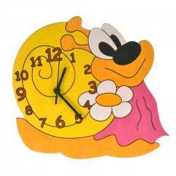 Drewniany zegar dziecięcy - Pani Ślimakowa