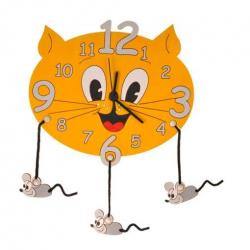 Detské drevené hodiny - Mačka s myškami