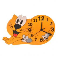 Detské drevené hodiny - Mačka