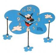 Drewniany zegar dziecięcy - Chmura i chmurki