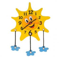 Drewniany zegar dziecięcy - Słoneczko i chmurki