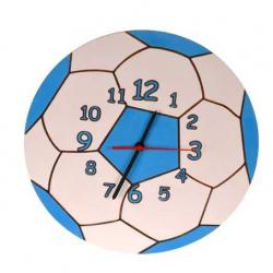 Drewniany zegar dziecięcy - Piłka nożna, niebieska