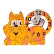 Drewniany zegar dziecięcy - Kotek z myszką