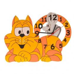 Detské drevené hodiny - Mačka s myškou