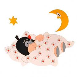 Lampka ścienna dla dzieci - Krecik w łóżeczku