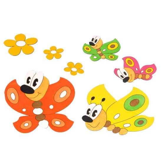 Dřevěné dekorace - Sestavy dekorací Motýlci a kytičky