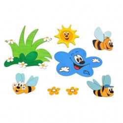 Dřevěné dekorace - Sestavy dekorací Louka včelky
