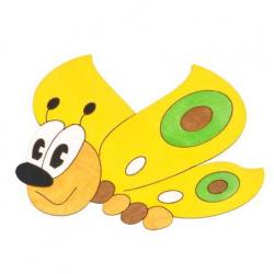 Drevené dekorácie - Stredná dekorácia Motýľ žltý