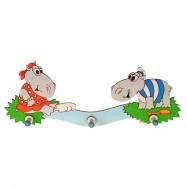 Drewniany wieszak Hipopotamy - 3 haczyki