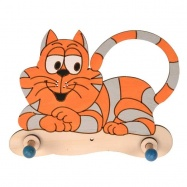 Dřevěný 2 věšáček - Kočička
