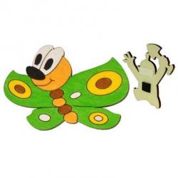 Drevené dekoračné magnetky - magnetka Motýľ zelený