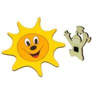 Dřevěné dekorační magnetky - magnetka Sluníčko