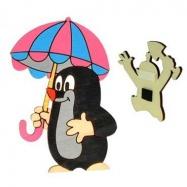 Dřevěné dekorační magnetky - magnetka Krtek s deštníkem