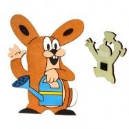 Dřevěné dekorační magnetky - Krtkův kamarád zajíc