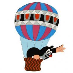 Drewniane dekoracje - Duża dekoracja Krecik w balonie