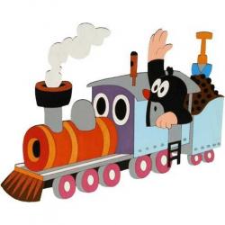 Drewniane dekoracje - Duża dekoracja Krecik w pociągu