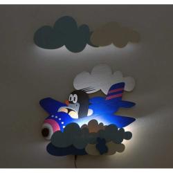 LED Lampka ścienna dla dzieci - Krecik w samolocie