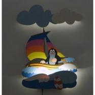 LED Lampka ścienna dla dzieci - Krecik w łodzi
