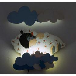 LED Lampka ścienna dla dzieci - Krecik w łóżeczku