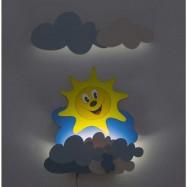 LED Lampka ścienna dla dzieci - Słoneczko i chmurki