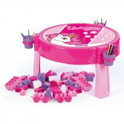 Hrací stolek 2v1 s kostkami 100ks, jednorožec