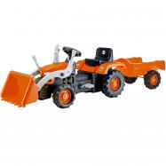Šliapací traktor s vlečkou a nakladačom