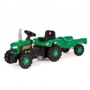 Dětský traktor šlapací s vlečkou, zelený