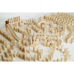 EkoToys Dřevěné domino přírodní 830ks