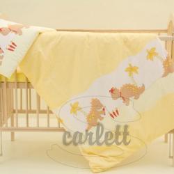 Komplet poszewek na pościel do łóżeczka Smok - żółty