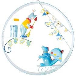 Závěsná dekorace kruhová - Drak a rytíř