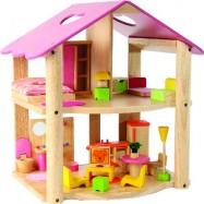 Dřevěný domeček pro panenky s nábytkem růžový