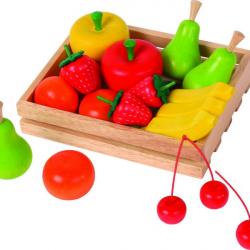Dřevěná přepravka s ovocem