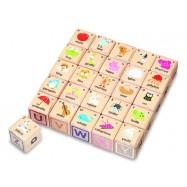 Dřevěné ABC kostky s angličtinou