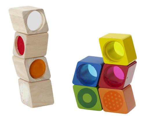 Dřevěné smyslové kostky