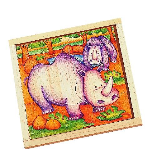 Dřevěné puzzle Nosorožec