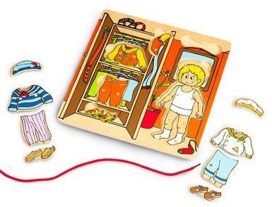 Dřevěné puzzle oblékání