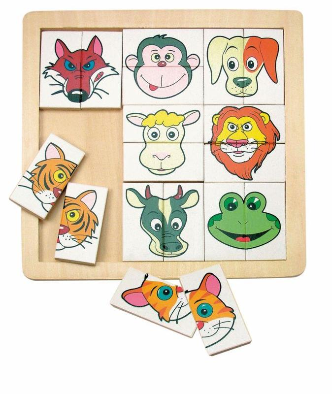 Dřevěná skládanka puzzle Zvířecí hlavičky